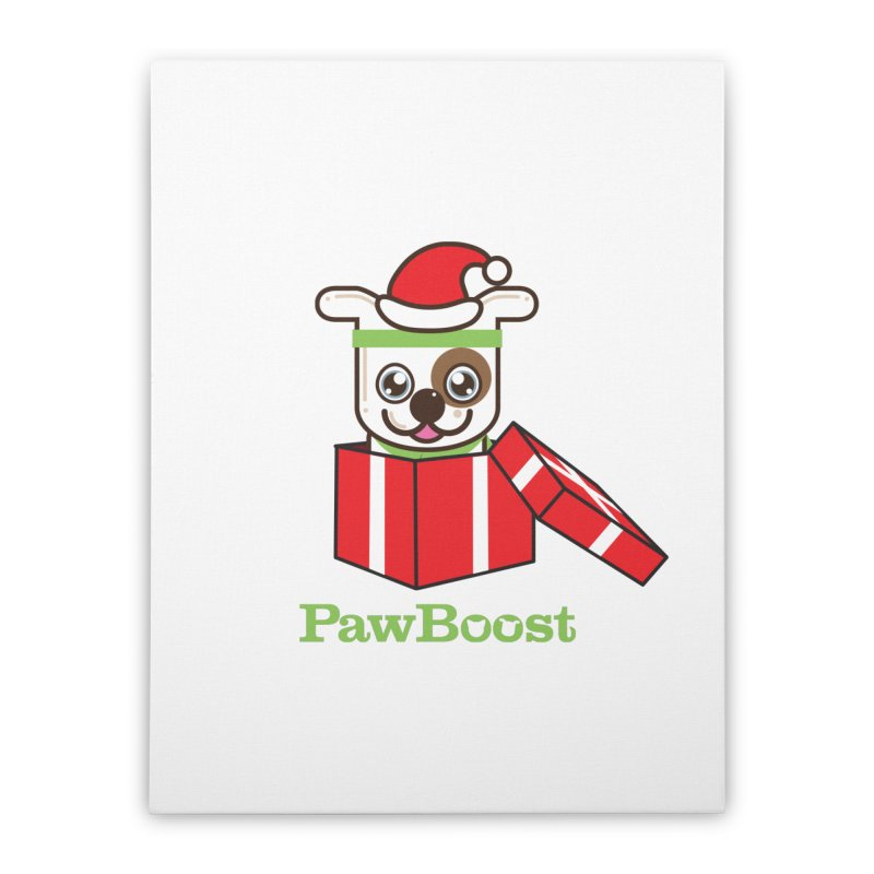 Happy Howlidays! (dog) Home Stretched Canvas by PawBoost's Shop