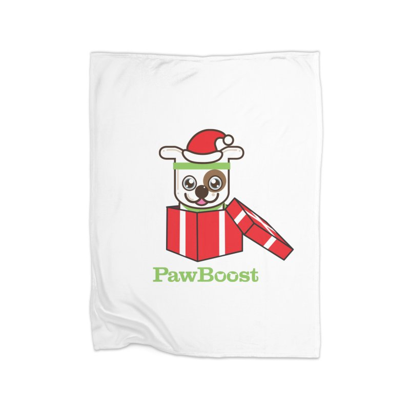 Happy Howlidays! (dog) Home Fleece Blanket Blanket by PawBoost's Shop