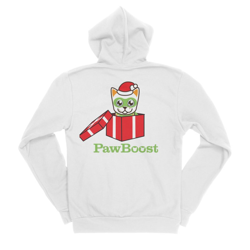 Meowy Christmas! (cat) Women's Sponge Fleece Zip-Up Hoody by PawBoost's Shop