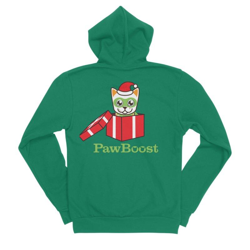 Meowy Christmas! (cat) Men's Sponge Fleece Zip-Up Hoody by PawBoost's Shop