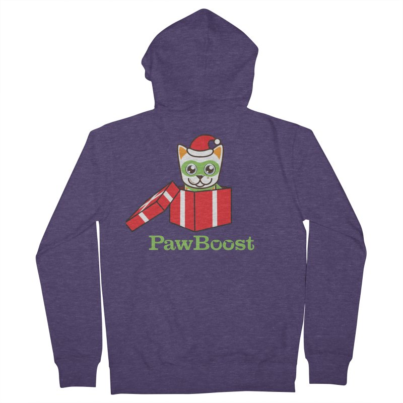 Meowy Christmas! (cat) Men's French Terry Zip-Up Hoody by PawBoost's Shop