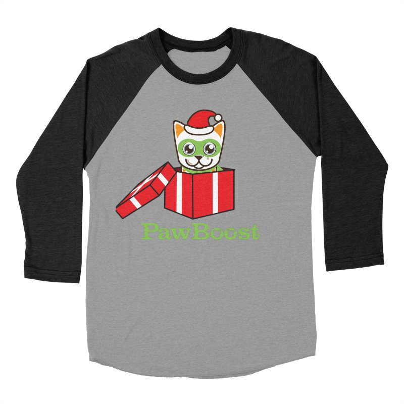 Meowy Christmas! (cat) Men's Baseball Triblend Longsleeve T-Shirt by PawBoost's Shop