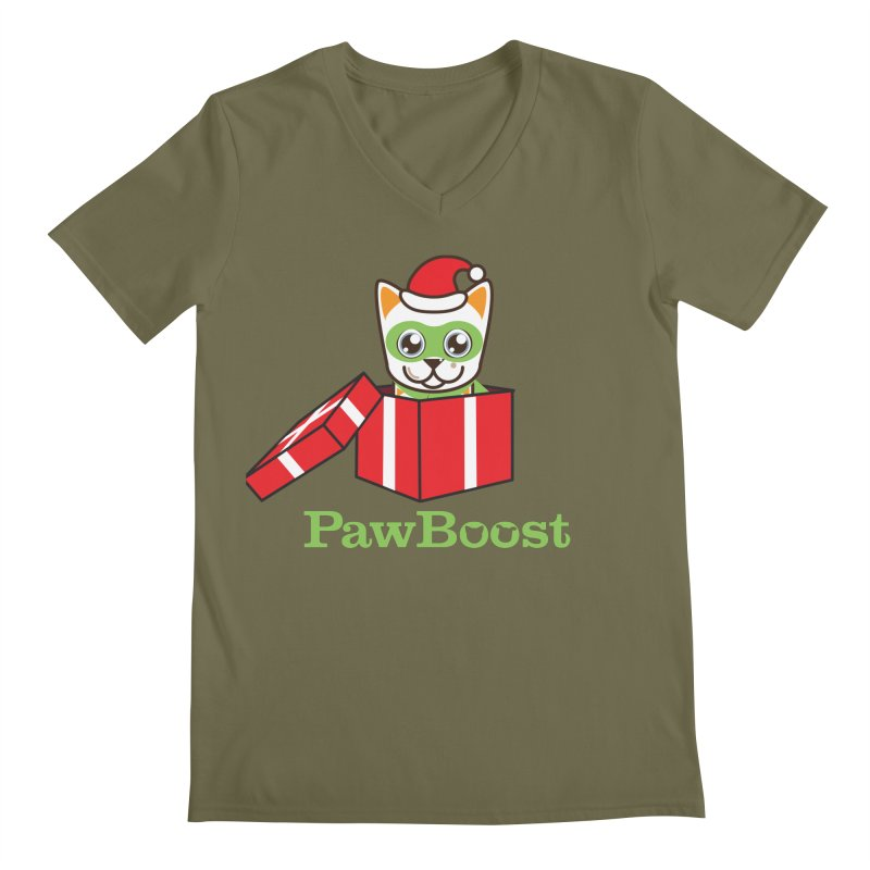 Meowy Christmas! (cat) Men's Regular V-Neck by PawBoost's Shop