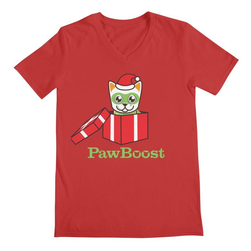 Meowy Christmas! (cat) Men's Regular V-Neck by PawBoost's Shop
