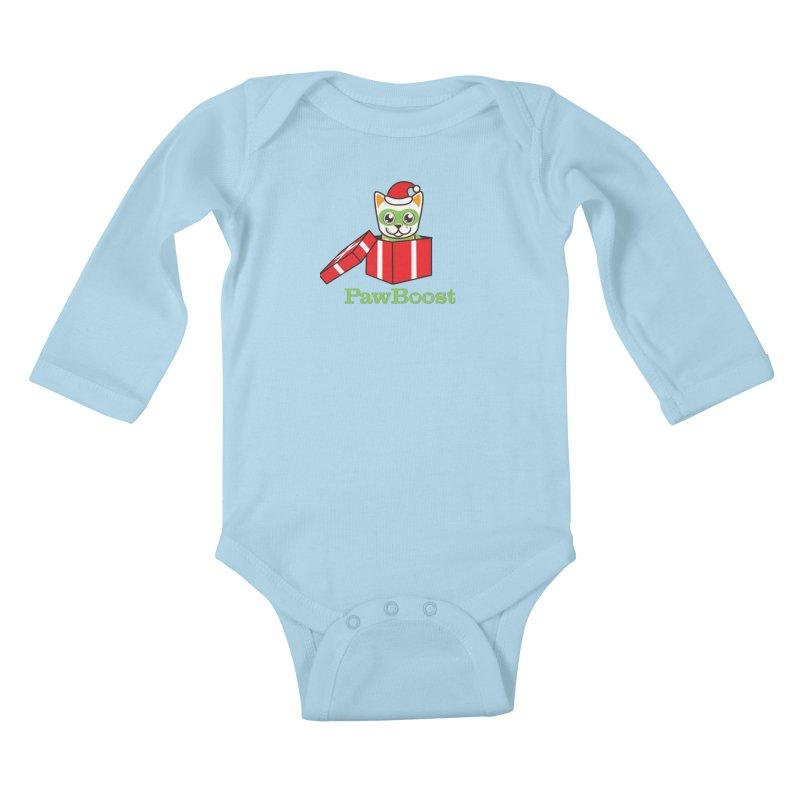 Meowy Christmas! (cat) Kids Baby Longsleeve Bodysuit by PawBoost's Shop