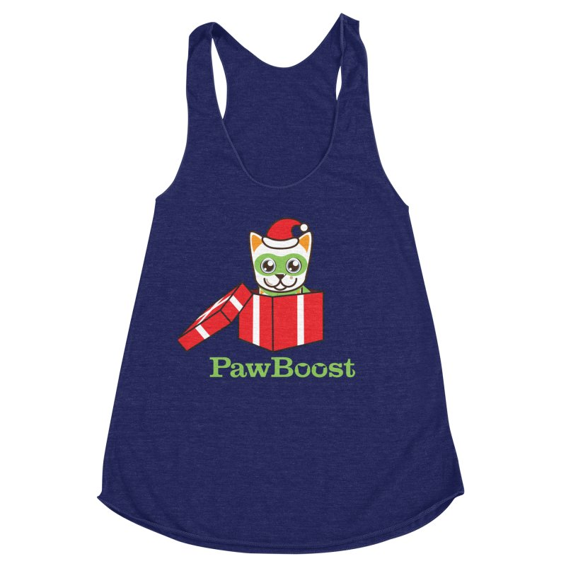 Meowy Christmas! (cat) Women's Racerback Triblend Tank by PawBoost's Shop
