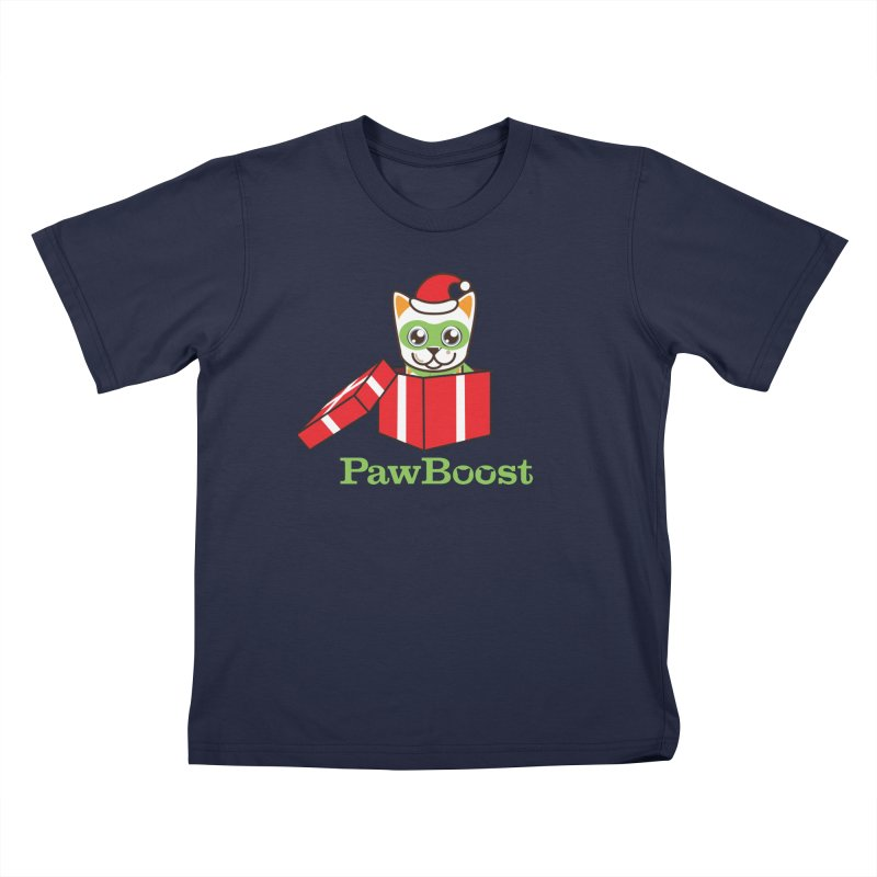 Meowy Christmas! (cat) Kids T-Shirt by PawBoost's Shop