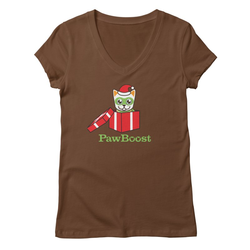 Meowy Christmas! (cat) Women's V-Neck by PawBoost's Shop