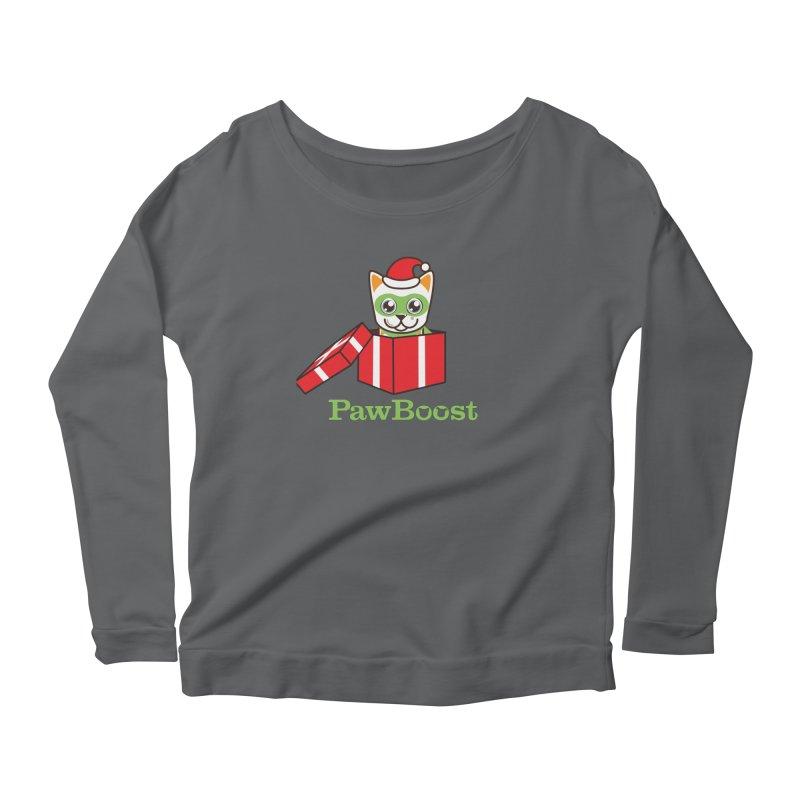 Meowy Christmas! (cat) Women's Scoop Neck Longsleeve T-Shirt by PawBoost's Shop