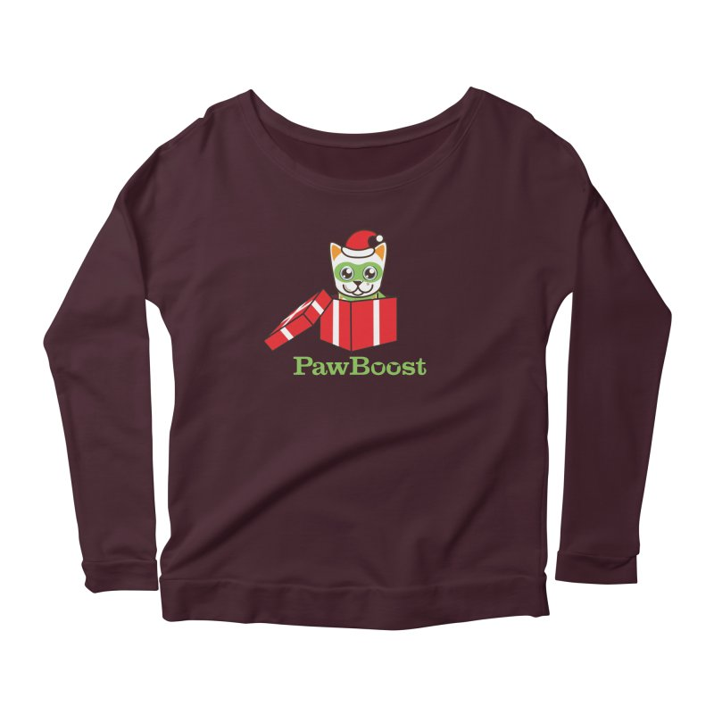 Meowy Christmas! (cat) Women's Scoop Neck Longsleeve T-Shirt by PawBoost's Shop