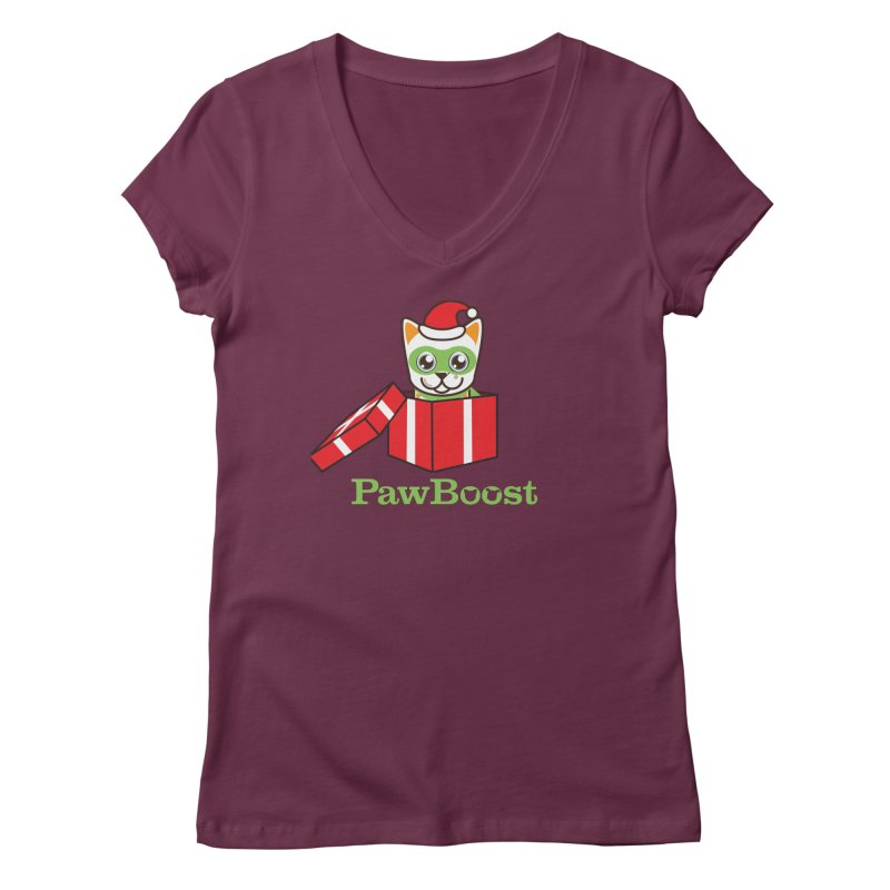 Meowy Christmas! (cat) Women's Regular V-Neck by PawBoost's Shop
