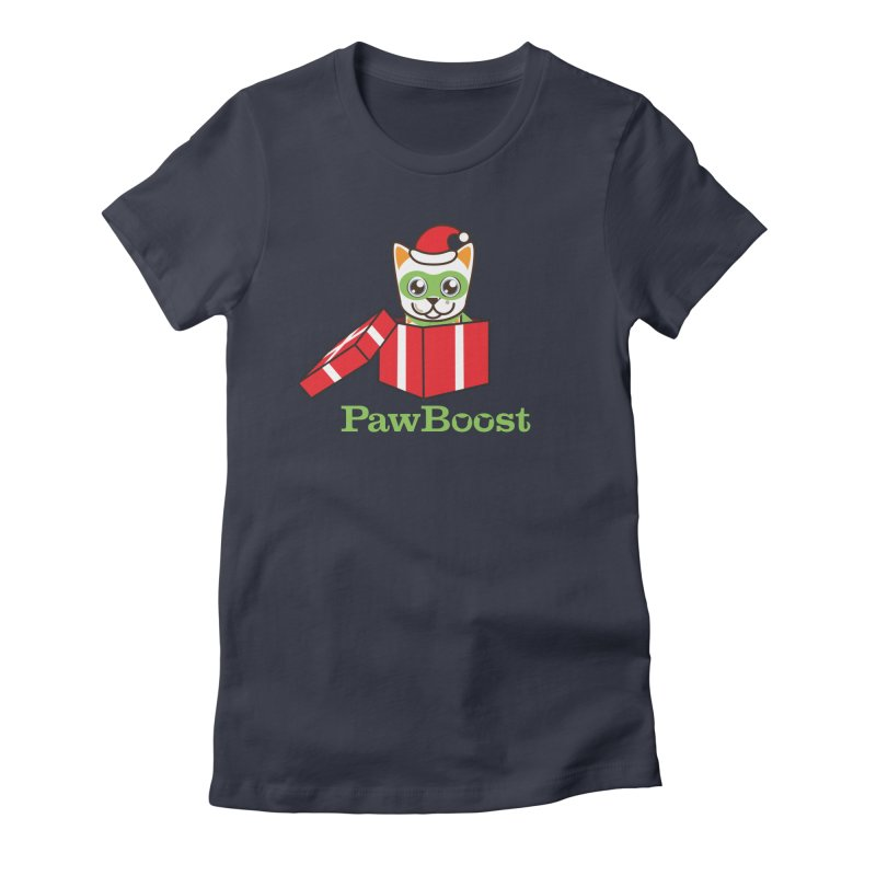 Meowy Christmas! (cat) Women's Fitted T-Shirt by PawBoost's Shop
