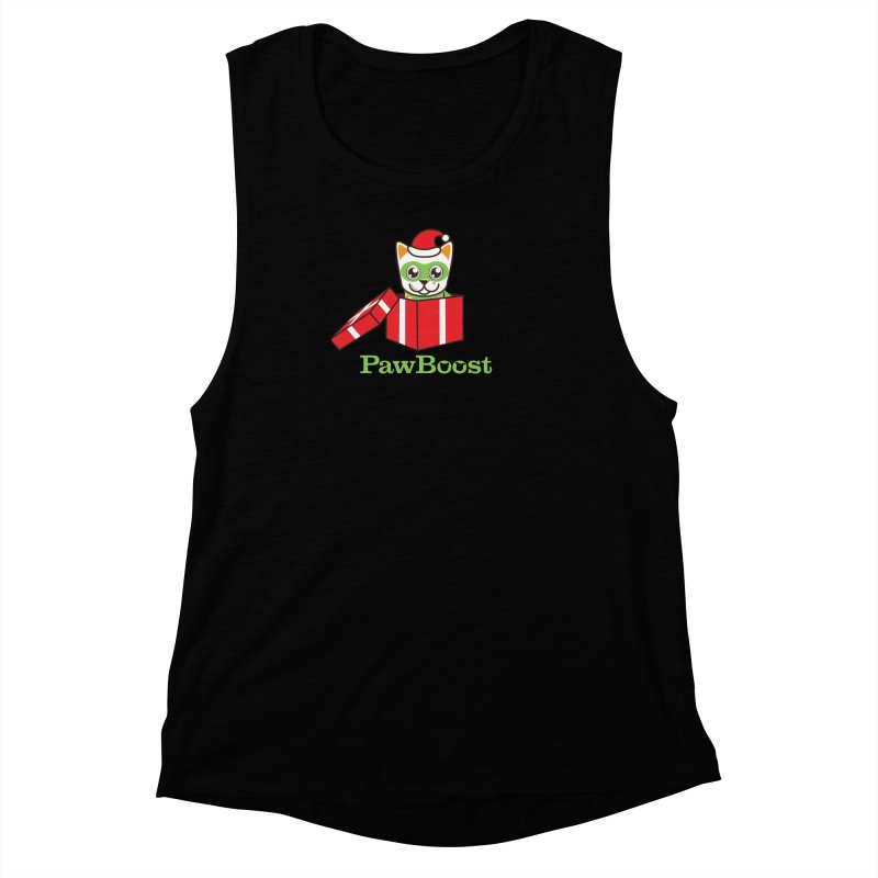 Meowy Christmas! (cat) Women's Muscle Tank by PawBoost's Shop
