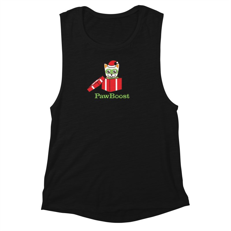 Meowy Christmas! (cat) Women's Muscle Tank by PawBoost's Shop