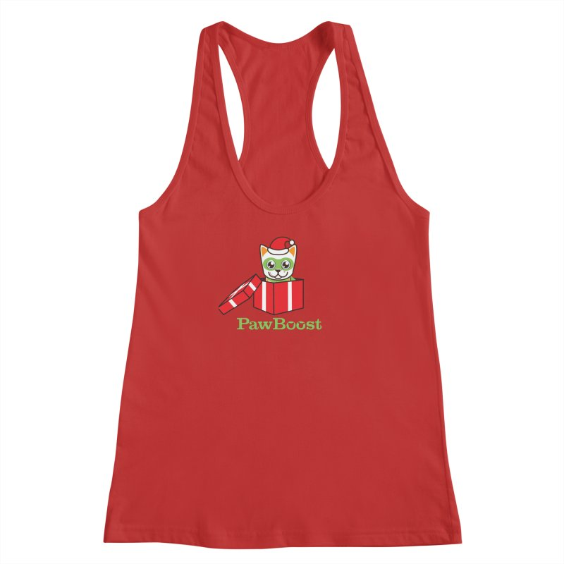 Meowy Christmas! (cat) Women's Racerback Tank by PawBoost's Shop
