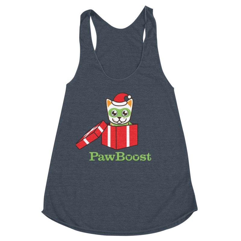 Meowy Christmas! (cat) Women's Racerback Triblend Tank by PawBoost's Shop
