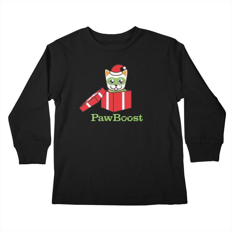 Meowy Christmas! (cat) Kids Longsleeve T-Shirt by PawBoost's Shop