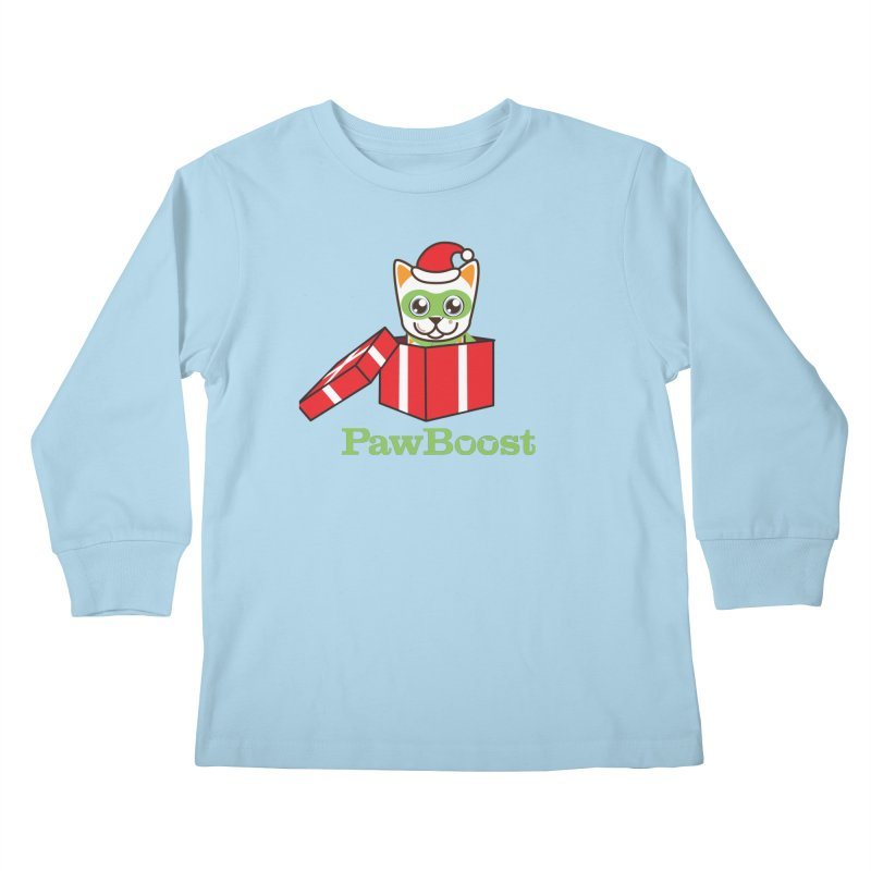 Meowy Christmas! (cat) Kids Longsleeve T-Shirt by PawBoost's Shop