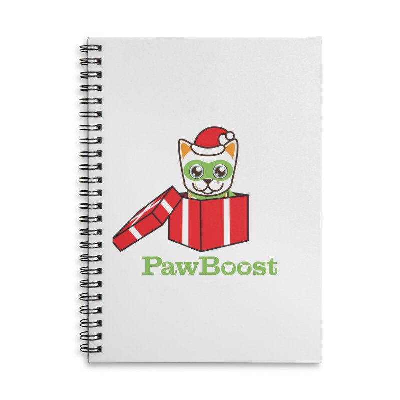 Meowy Christmas! (cat) Accessories Lined Spiral Notebook by PawBoost's Shop