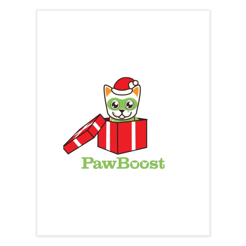 Meowy Christmas! (cat) Home Fine Art Print by PawBoost's Shop