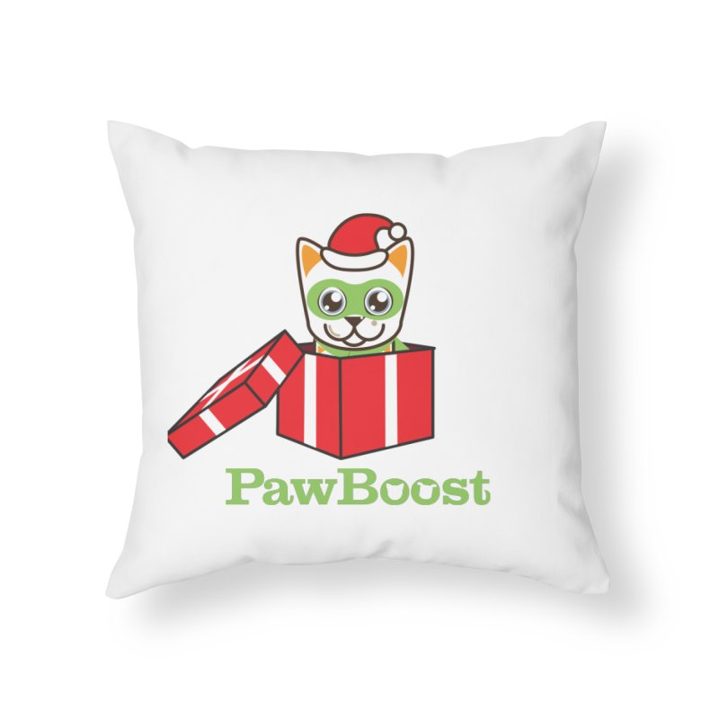 Meowy Christmas! (cat) Home Throw Pillow by PawBoost's Shop