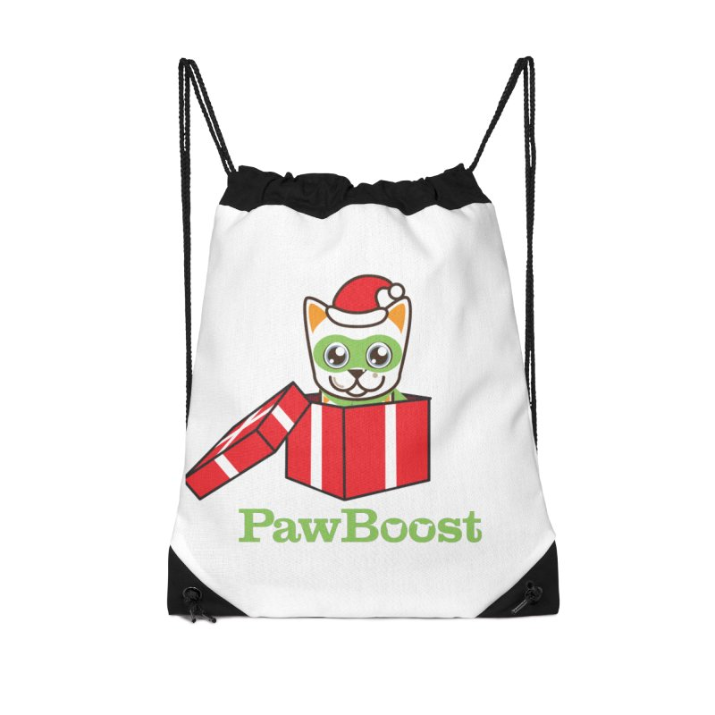 Meowy Christmas! (cat) Accessories Drawstring Bag Bag by PawBoost's Shop