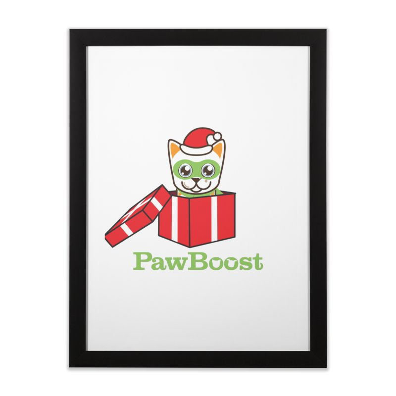 Meowy Christmas! (cat) Home Framed Fine Art Print by PawBoost's Shop