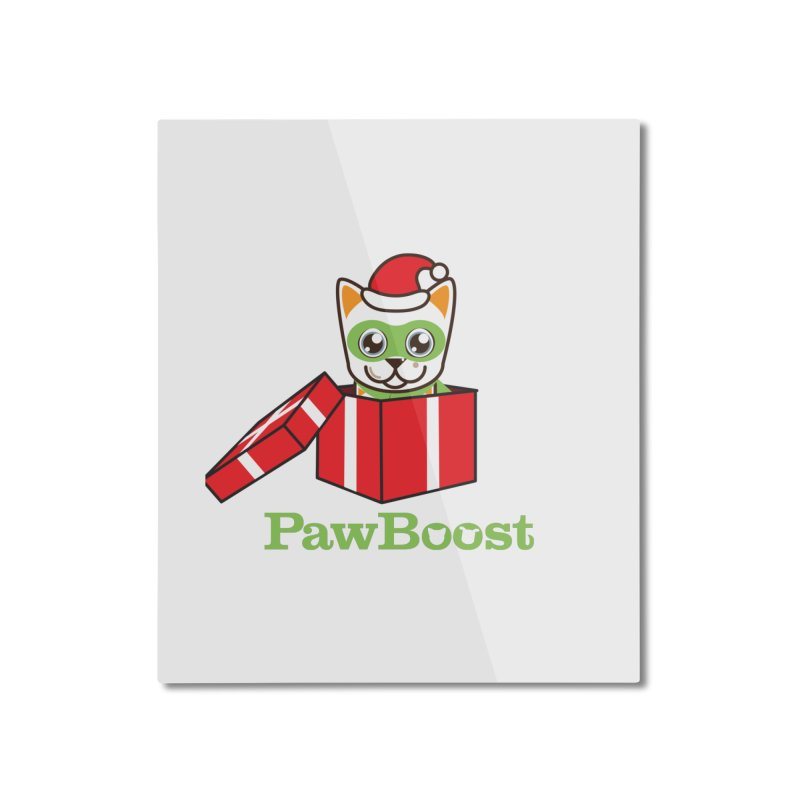 Meowy Christmas! (cat) Home Mounted Aluminum Print by PawBoost's Shop