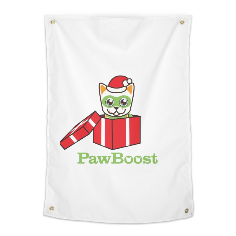 Meowy Christmas! (cat) Home Tapestry by PawBoost's Shop