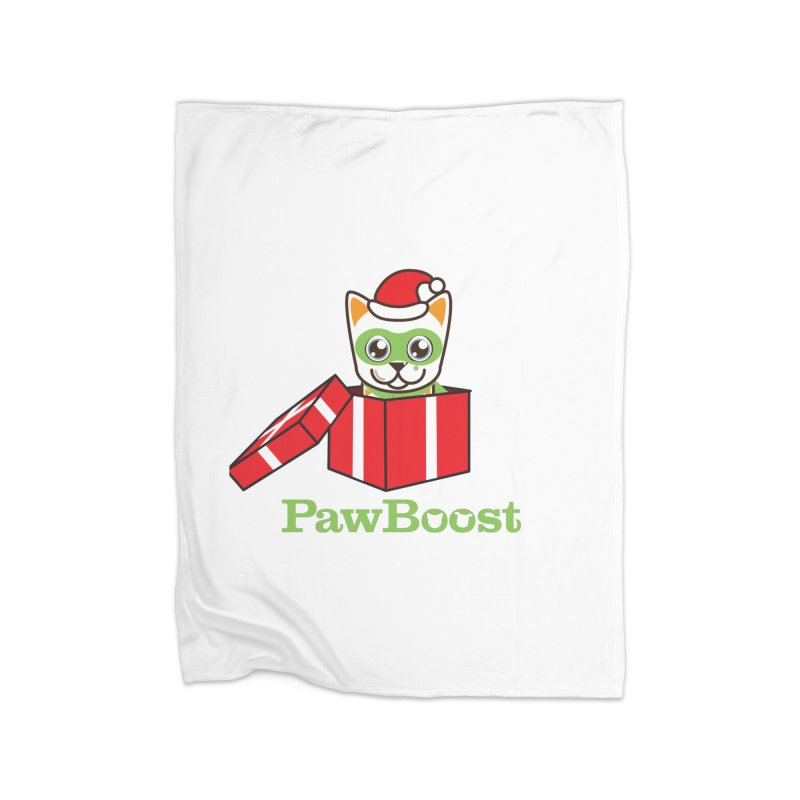 Meowy Christmas! (cat) Home Fleece Blanket Blanket by PawBoost's Shop