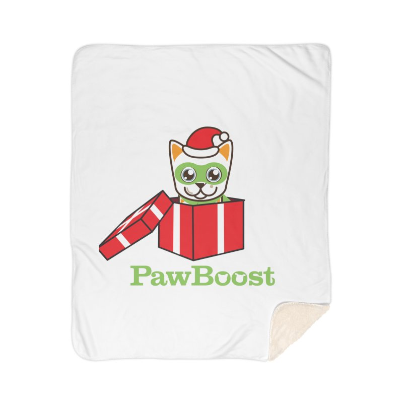 Meowy Christmas! (cat) Home Sherpa Blanket Blanket by PawBoost's Shop