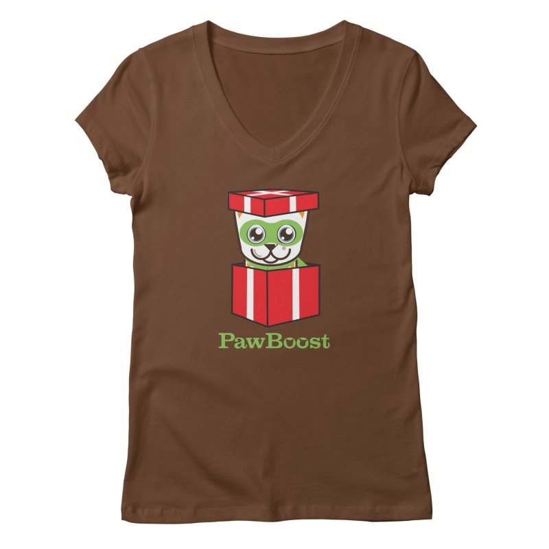 Meowy Christmas! (cat) in Women's Regular V-Neck Brown by PawBoost's Shop