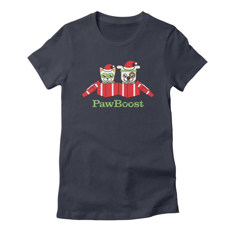 Toby & Moby Presents in Women's Fitted T-Shirt Midnight by PawBoost's Shop
