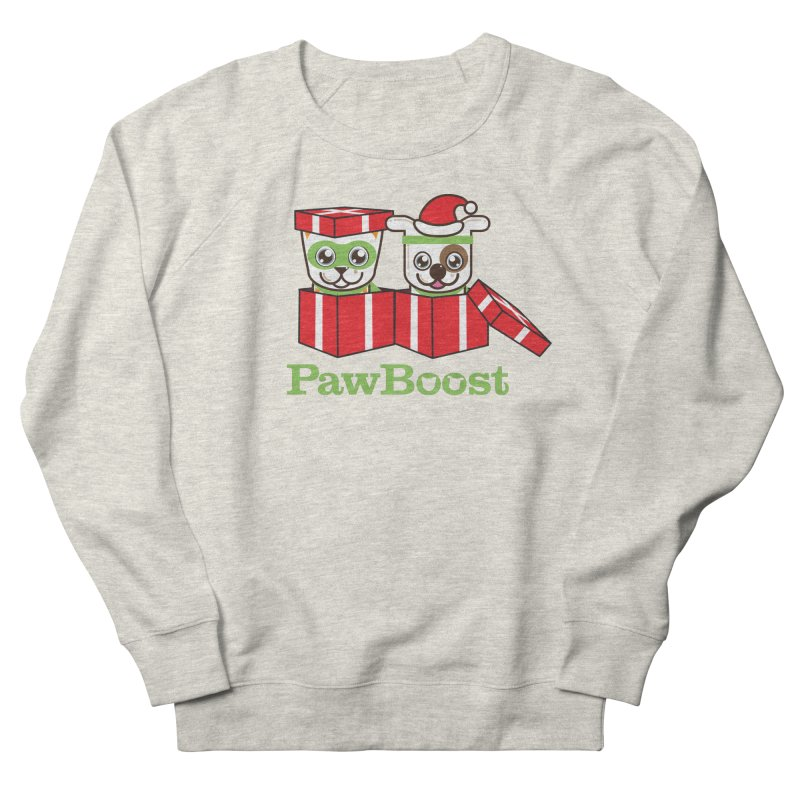 Toby & Moby Presents in Women's French Terry Sweatshirt Heather Oatmeal by PawBoost's Shop
