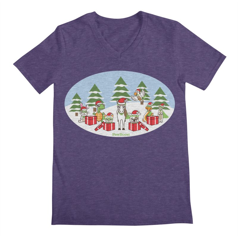 Rescue Squad Presents (winter wonderland) Men's Regular V-Neck by PawBoost's Shop