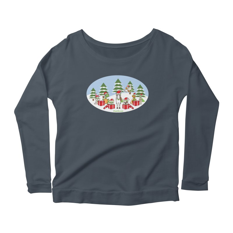 Rescue Squad Presents (winter wonderland) Women's Scoop Neck Longsleeve T-Shirt by PawBoost's Shop