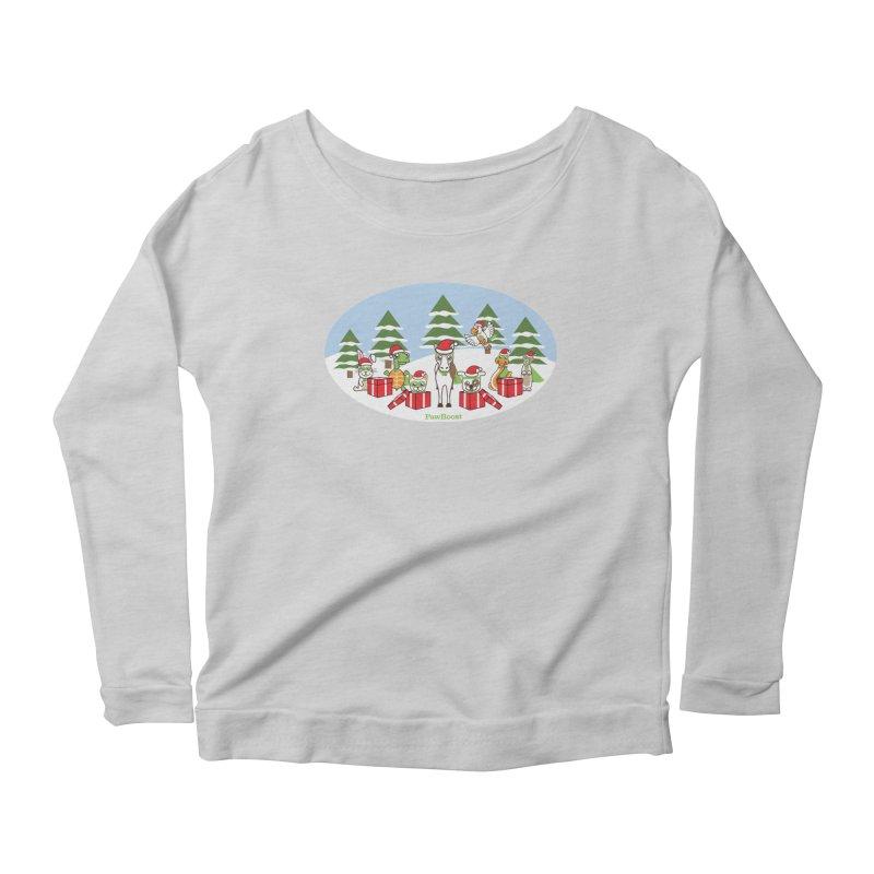 Rescue Squad Presents (winter wonderland) Women's Scoop Neck Longsleeve T-Shirt by PawBoost's Shop