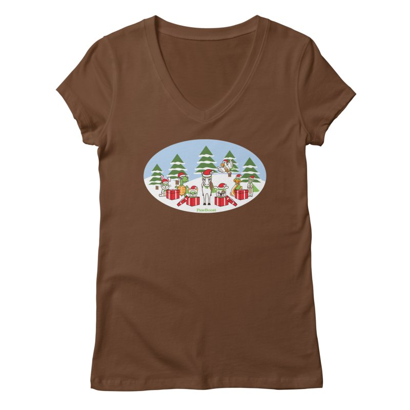 Rescue Squad Presents (winter wonderland) Women's Regular V-Neck by PawBoost's Shop
