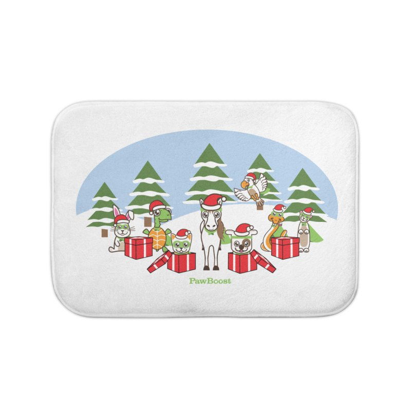 Rescue Squad Presents (winter wonderland) Home Bath Mat by PawBoost's Shop