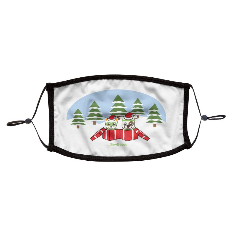 Toby & Moby Presents (winter wonderland) Accessories Face Mask by PawBoost's Shop