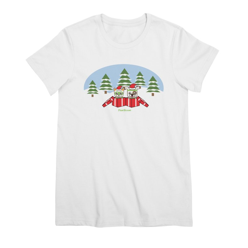 Toby & Moby Presents (winter wonderland) Women's Premium T-Shirt by PawBoost's Shop