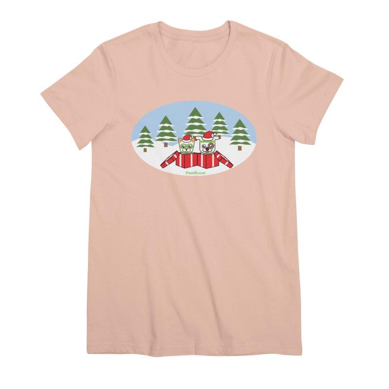 Toby & Moby Presents (winter wonderland) Women's Premium T-Shirt by PawBoost's Shop