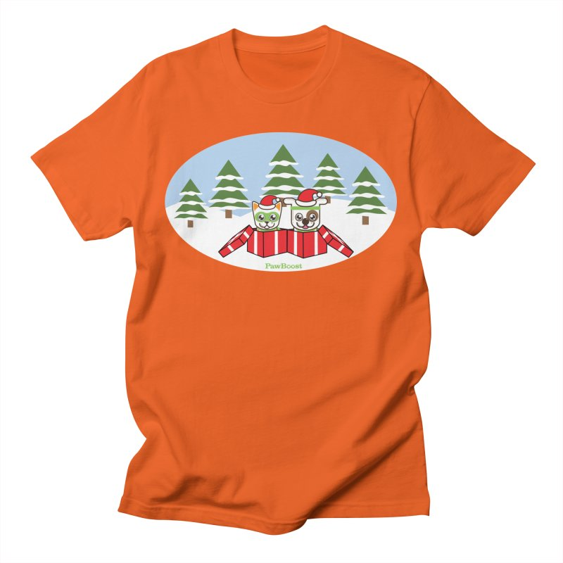 Toby & Moby Presents (winter wonderland) Men's T-Shirt by PawBoost's Shop