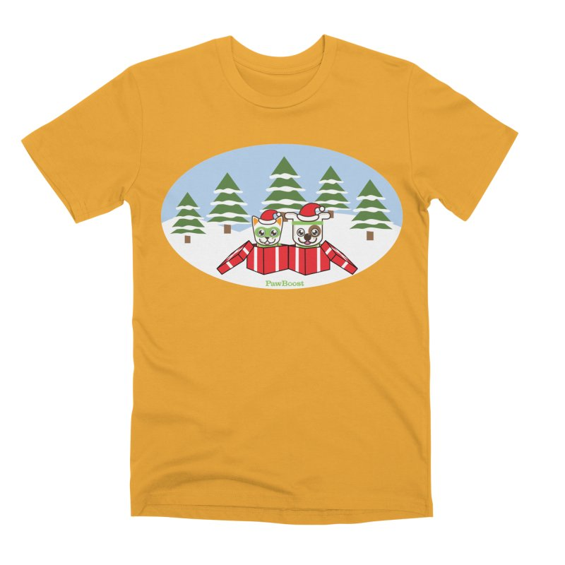 Toby & Moby Presents (winter wonderland) Men's Premium T-Shirt by PawBoost's Shop
