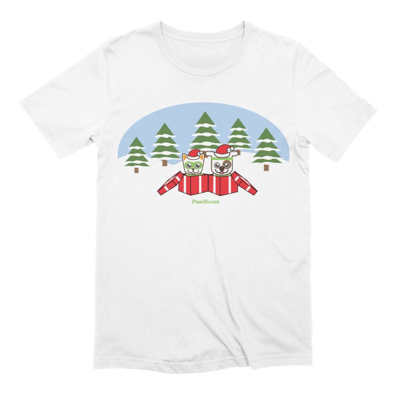 Toby & Moby Presents (winter wonderland) Men's Extra Soft T-Shirt by PawBoost's Shop
