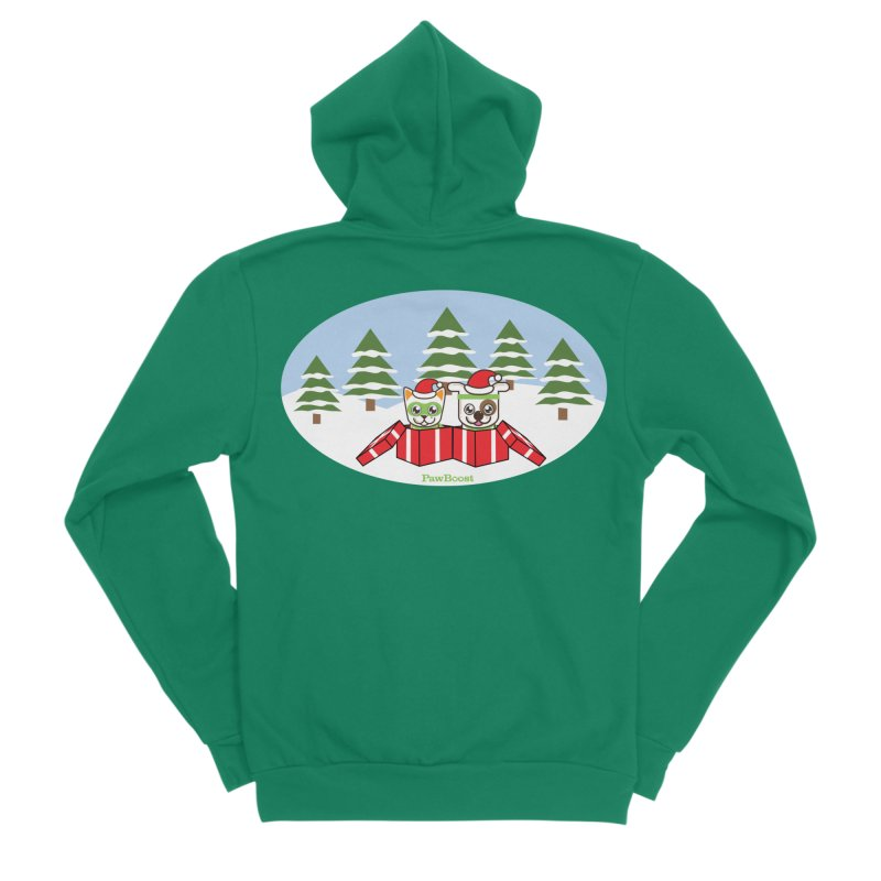 Toby & Moby Presents (winter wonderland) Men's Sponge Fleece Zip-Up Hoody by PawBoost's Shop