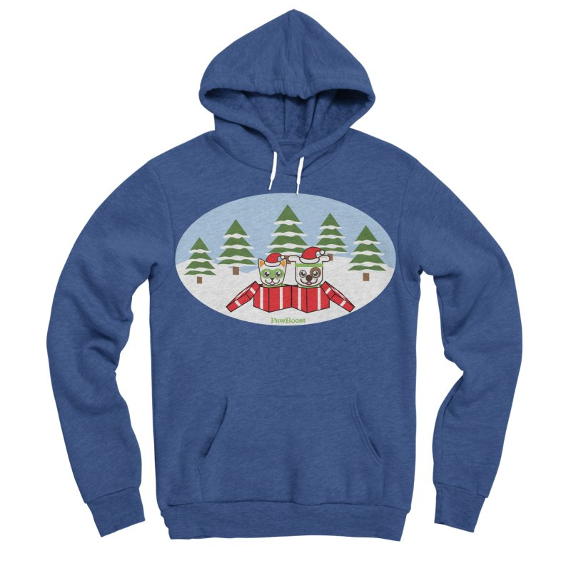 Toby & Moby Presents (winter wonderland) Men's Sponge Fleece Pullover Hoody by PawBoost's Shop