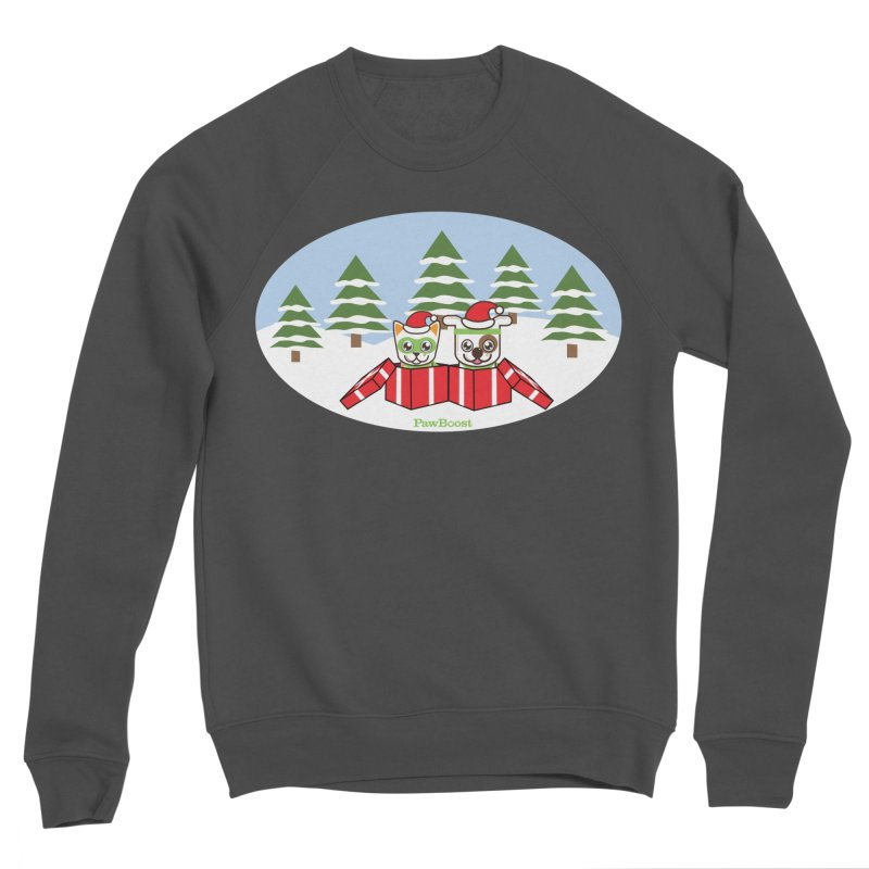 Toby & Moby Presents (winter wonderland) Women's Sponge Fleece Sweatshirt by PawBoost's Shop