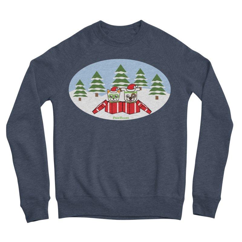 Toby & Moby Presents (winter wonderland) Men's Sponge Fleece Sweatshirt by PawBoost's Shop