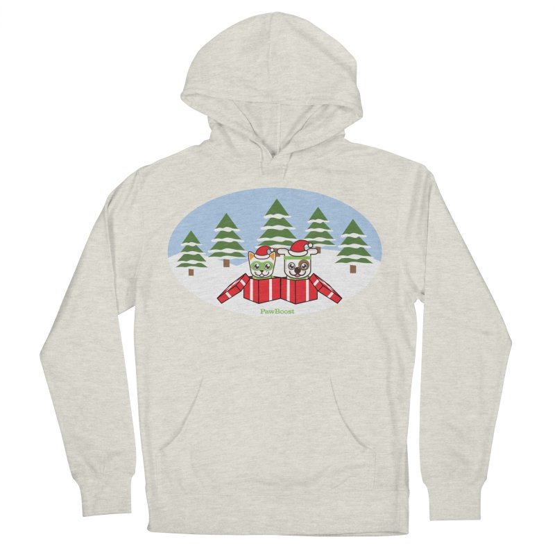 Toby & Moby Presents (winter wonderland) Women's French Terry Pullover Hoody by PawBoost's Shop